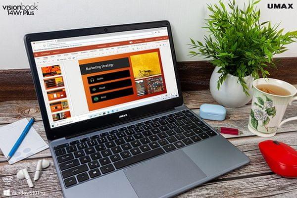 Notebook Umax VisionBook 14Wr Plus (UMM230142) 15,6 palce citlivý touchpad pohodlný zdvih klávesnice