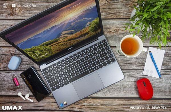 Notebook Umax VisionBook 14Wr Plus (UMM230142) 15,6 palce Intel 10. generace USB-C výkonný
