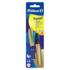 Pelikan Twist nalivno pero, zlato + 2 črnilna vložka