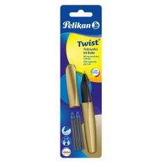 Pelikan Twist roler nalivno pero, zlato + 2 črnilna vložka