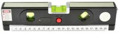 Laserová vodováha 245 mm podsvietená 3 libely zvinovací meter 1_5 m