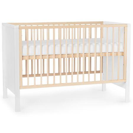 KinderKraft Baby wooden cot MIA guardrail white
