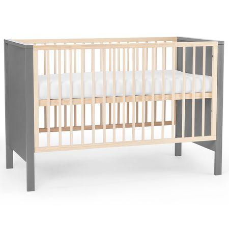 KinderKraft Baby wooden cot MIA guardrail grey