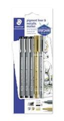 """Staedtler Liner a metalický popisovač """"Design Journey Pigment Liner"""", 5 ks, STAEDLER"""