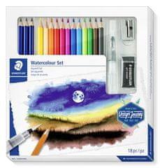 """Staedtler Akvarelové pastelky """"Design Journey"""", sada 12ks, se štětcem, pryží, ořezávátkem, graf. tužkami"""