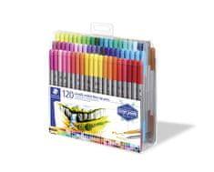 """Staedtler Sada fixů """"Design Journey"""", 120 různých barev, oboustranné, 0,8/3,0 mm"""