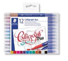 """Staedtler Kaligrafické popisovače """"Calligraph Duo"""", sada, 12 barev, 2,0/3,5 mm, oboustranné"""