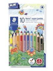 "Staedtler Barevné pastelky ""Noris Club Super Jumbo"", 10 barev, sada, šestihranné, maxi"