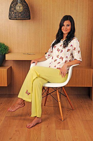 Andrie PS 9180 dámské pyžamo Barva: žlutá, Velikost oblečení: S