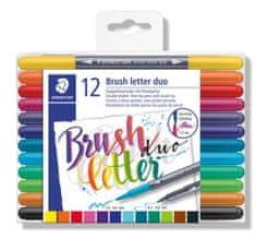 """Staedtler Štětcové fixy """"Brush letter Duo"""", sada, 12 barev, 0,5-0,8/1,0-6,0 mm, oboustranné"""