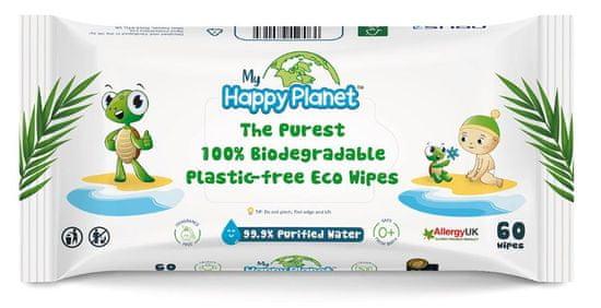 Aquaint Happy Planet 100 % BIO odbúrateľné vlhčené obrúsky 60 ks
