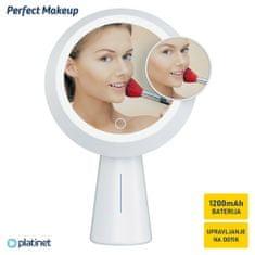 Platinet PMLY19 Makeup kozmetično ogledalo s stojalom, vgrajeno prenosno baterijo, LED osvetlitev