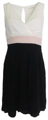 NAFNAF Černobílé šaty s růžovým pasem Naf Naf Velikost: M