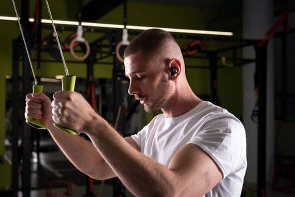 moderní tws true wireless stereo sluchátka gogen tws mate moderní design lipol baterie 6h výdrž nabíjecí box 18 h Bluetooth 5.0 výrazné výšky detailní středy silné basy a2dp avrcp mikrofon pro handsfree pohodlná lehká usbc nabíjecí kabel háček pro lepší fixaci v uchu