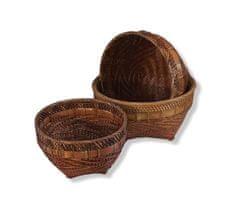 BaliTrade Dekorativní košíky 3x1 ratan+dřevo