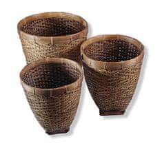 BaliTrade Dekorativní vysoké košíky 3 x 1 ratan + dřevo