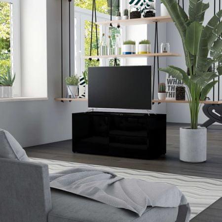 shumee magasfényű fekete forgácslap TV-szekrény 80 x 34 x 36 cm