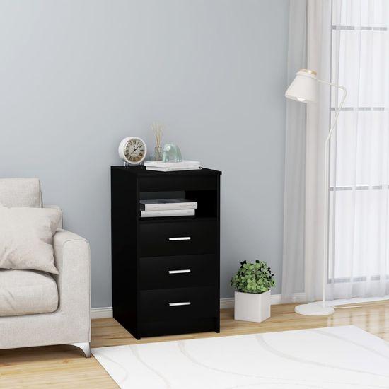 Zásuvková skrinka čierna 40x50x76 cm drevotrieska