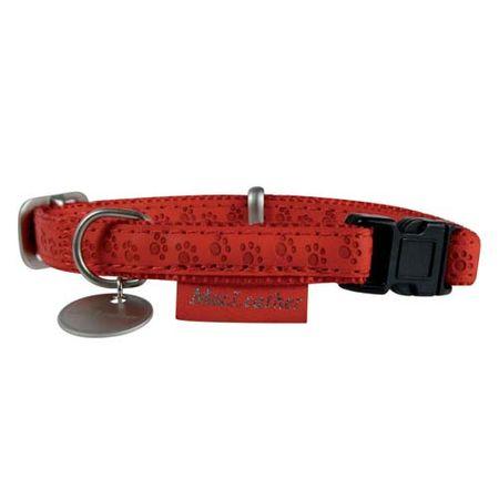 Zolux MAX LEATHER Nyakörv bőrből piros 25cm/15mm