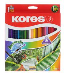 Kores Pastelky trojhranné akvarelové 24 ks s ořezávátkem a štětcem