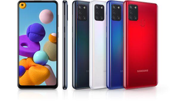 Samsung Galaxy A21s, ergonomický tvar, holografický design