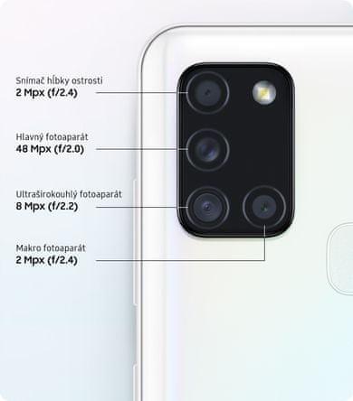 Samsung Galaxy A21s, čtyřnásobný fotoaparát, ultraširokoúhlý, hloubka ostrosti, vysoké rozlišení fotoaparátu