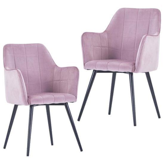 shumee Jedálenské stoličky 2 ks, ružové, zamat