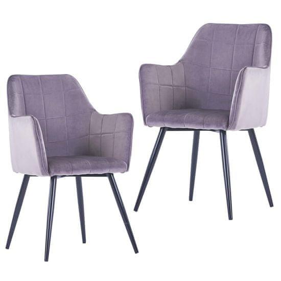 Jedálenské stoličky 2 ks, sivé, zamat
