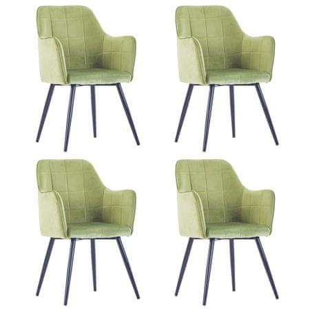 slomart Jedilni stoli 4 kosi svetlo zelen žamet