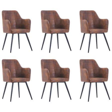 slomart Jedilni stoli 6 kosov rjavo umetno semiš usnje