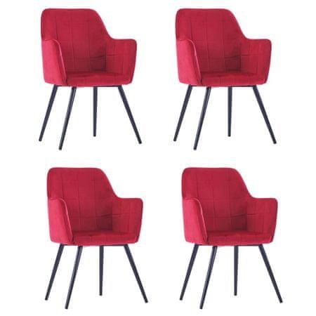 shumee Jedilni stoli 4 kosi temno rdeč žamet