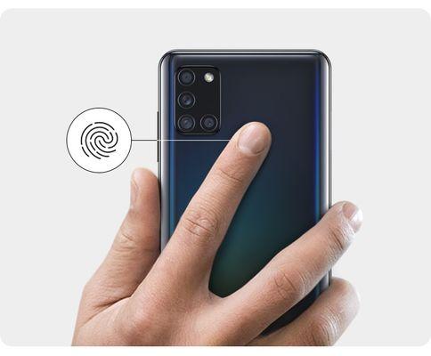 Samsung Galaxy A21s, zabezpečení, Samsung Knox, čtečka otisků prstů