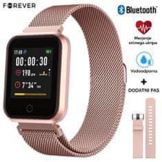 Forever ForeVigo SW-300 pametna športna ura, Bluetooth, aplikacija, IP67, darilo dodaten pas, roza zlata