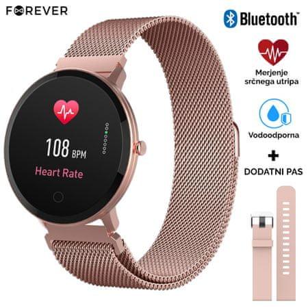 Forever ForeVive SB-320 pametna ura, Bluetooth, aplikacija, IP67, darilo dodaten pas, roza zlata