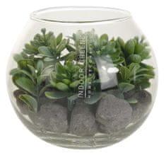 Koopman Dekoračná rastlina v sklenenej dóze Ø 12 cm, dekor č.1