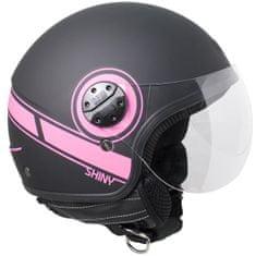 CGM Otevřená přilba moto SHINY– černá/růžová