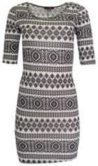 Aiki Bílé šaty s černými vzory AIKI Bílá M