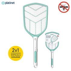 Platinet PRMB3839, 2-u-1 električni reket protiv insekata + LED svjetlo, ugrađena Li-Ion baterija, vrlo moćan