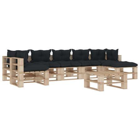 8-cz. zestaw mebli do ogrodu palety z drewna poduszki antracyt