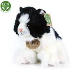 Rappa Plüss macska fehér-fekete ülő, 17 cm, ECO-FRIENDLY