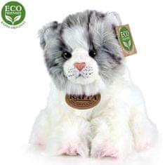 Rappa Plüss macska fehér-szürke ülő, 17 cm, ECO-FRIENDLY