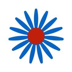 Naplotík Kopretina na plot - modrá s červeným středem