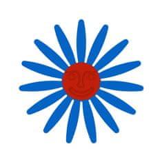 Naplotík Kopretina na plot - modrá s červeným středem s tváří