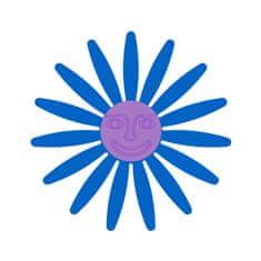 Naplotík Kopretina na plot - modrá s fialovým středem s tváří