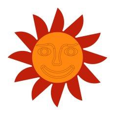Naplotík Slunce na plot - červené s oranžovým středem s tváří