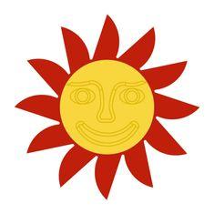 Naplotík Slunce na plot - červené se žlutým středem s tváří