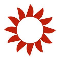 Naplotík Slunce na plot - červené s bílým středem