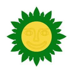 Naplotík Slunečnice na plot - zelená se žlutým středem s tváří