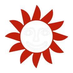 Naplotík Slunce na plot - červené s bílým středem s tváří
