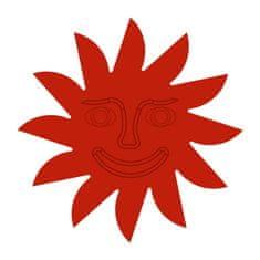 Naplotík Slunce na plot - červené s červeným středem s tváří